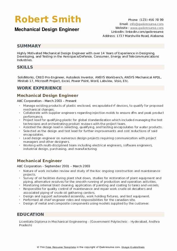 Mechanical Engineering Resume Template Beautiful Mechanical Design Engineer Resume Samples