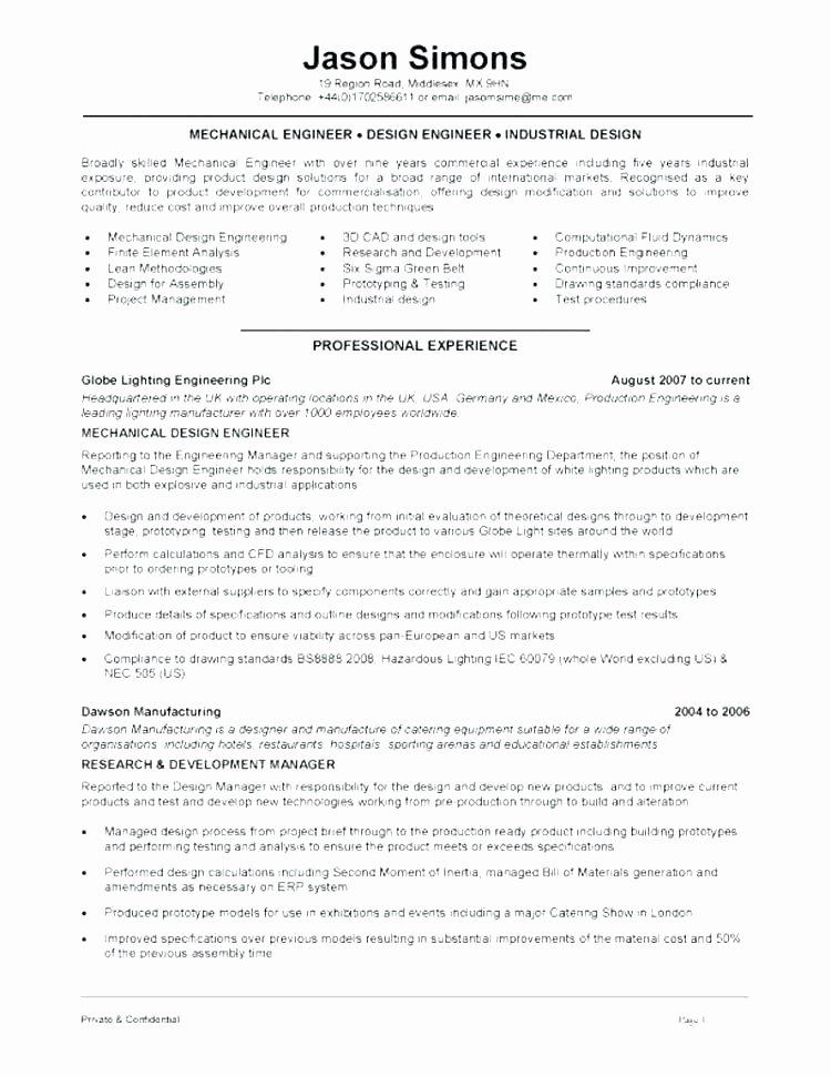 Mechanical Engineering Resume Template Beautiful Mechanical Engineer Resume Examples – Emelcotest