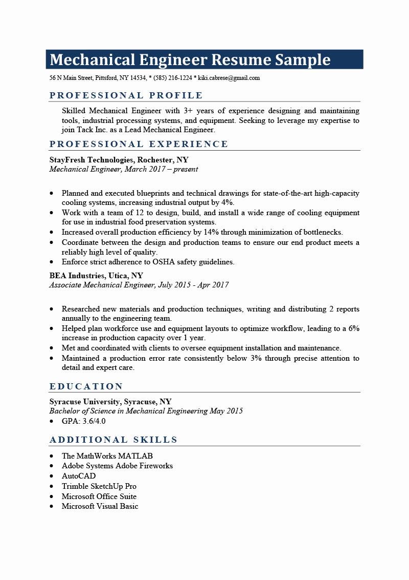 Mechanical Engineering Resume Template Luxury Mechanical Engineer Resume Sample & Writing Tips
