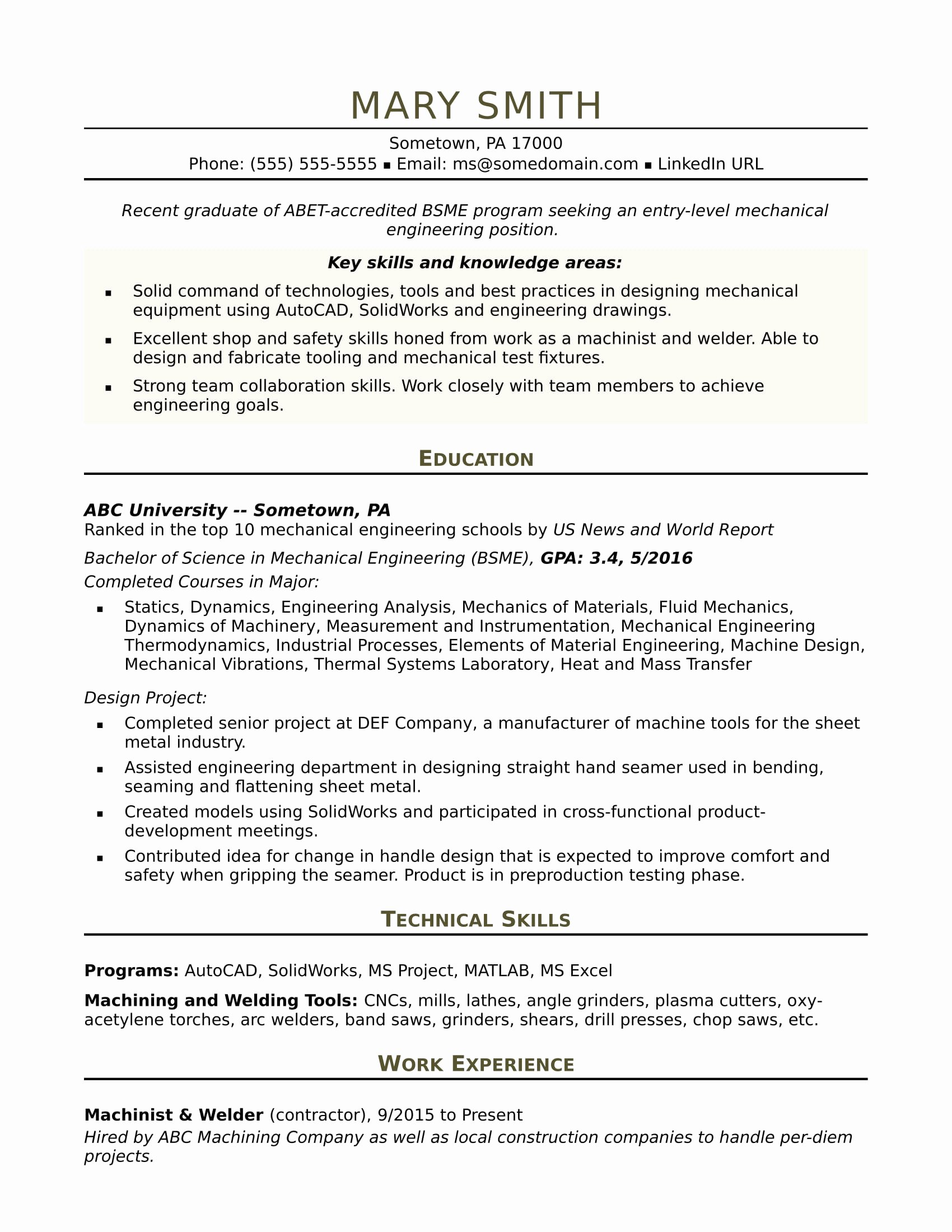Mechanical Engineering Resume Template Unique Sample Resume for An Entry Level Mechanical Engineer