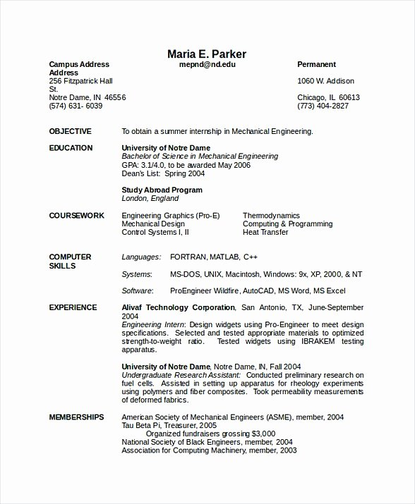 Mechanical Engineering Resume Template Unique software Engineering Manager Resume