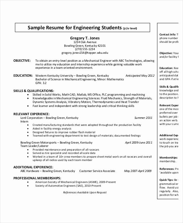 Mechanical Engineering Resume Templates Awesome Free Engineering Resume Templates 49 Free Word Pdf Documents Download