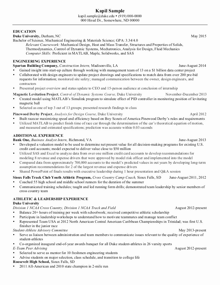 Mechanical Engineering Resume Templates Beautiful Resume Mechanical Engineering Senior