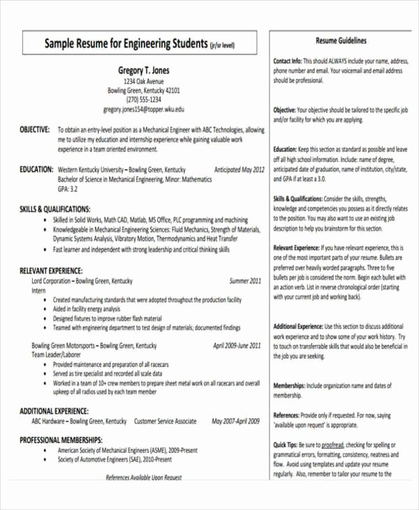 Mechanical Engineering Resume Templates Luxury 31 Professional Engineering Resume Templates Pdf Doc