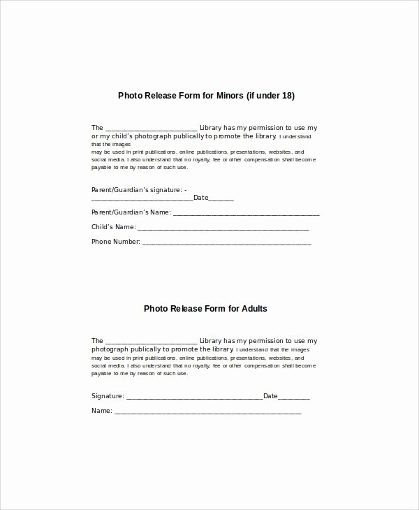 Media Release form Template Awesome Generic Release form 8 Examples In Word Pdf