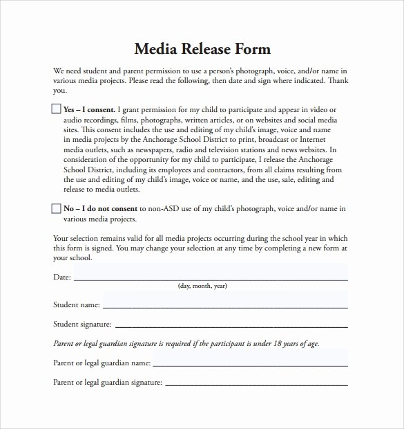 Media Release form Template Fresh Sample Media Release form 6 Download Free Documents In Word Word