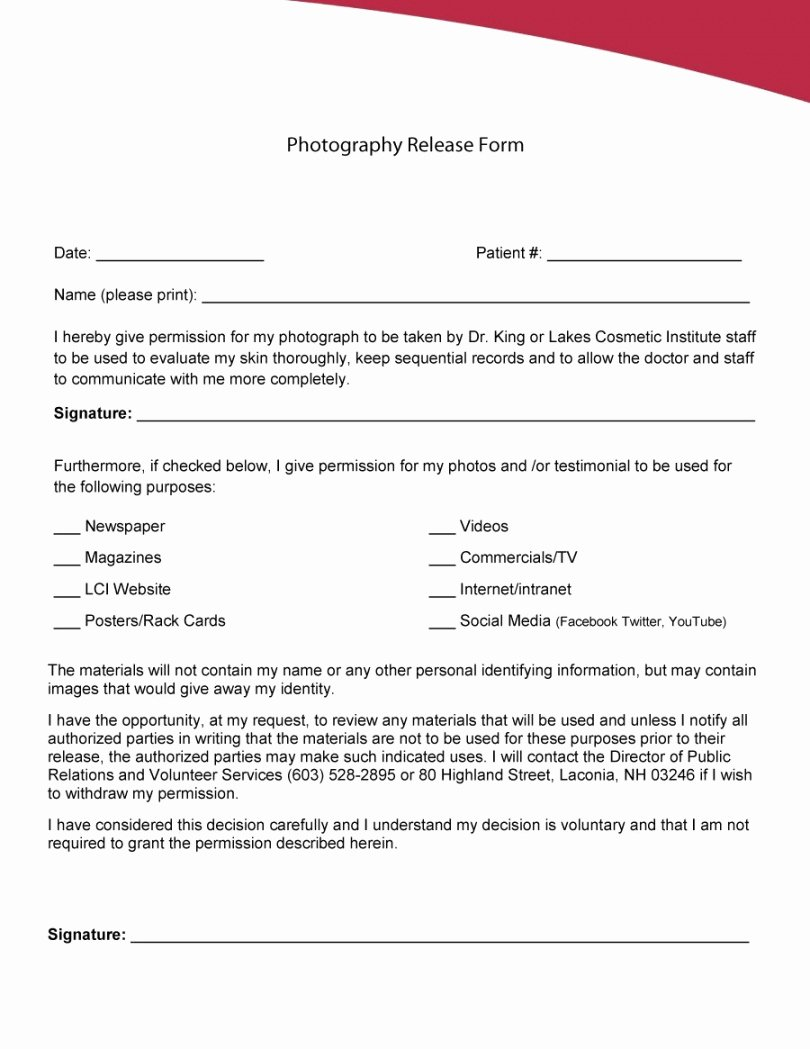 Media Release form Template Fresh Website and social Media Release form