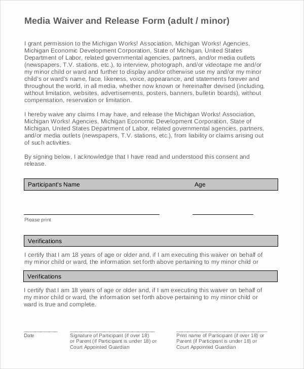 Media Release form Template Luxury Generic Release forms