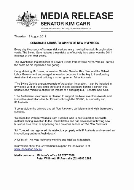 Media Release form Template Luxury Media Release Template Minister Carr Ip Australia