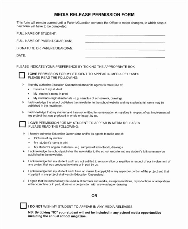 Media Release form Template New Generic Release forms