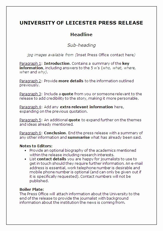 Media Release forms Template Best Of Press Release Template — University Of Leicester
