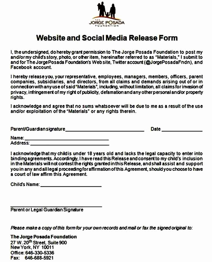 Media Release forms Template Best Of Template Media Release form