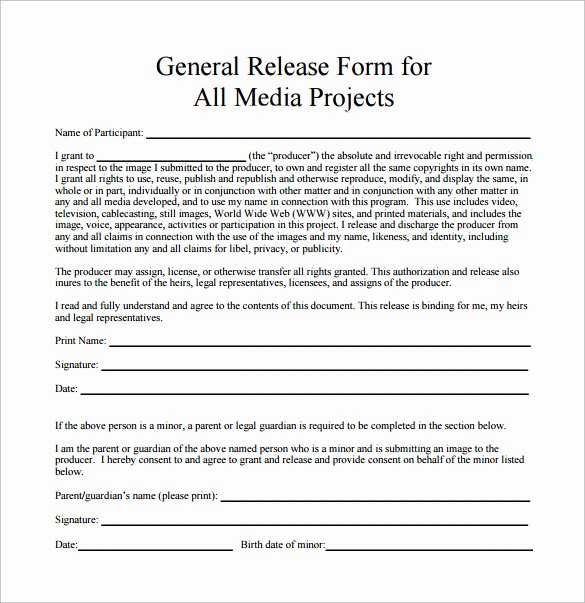 Media Release forms Template Fresh Sample General Release form 10 Download Free Documents In Pdf Word