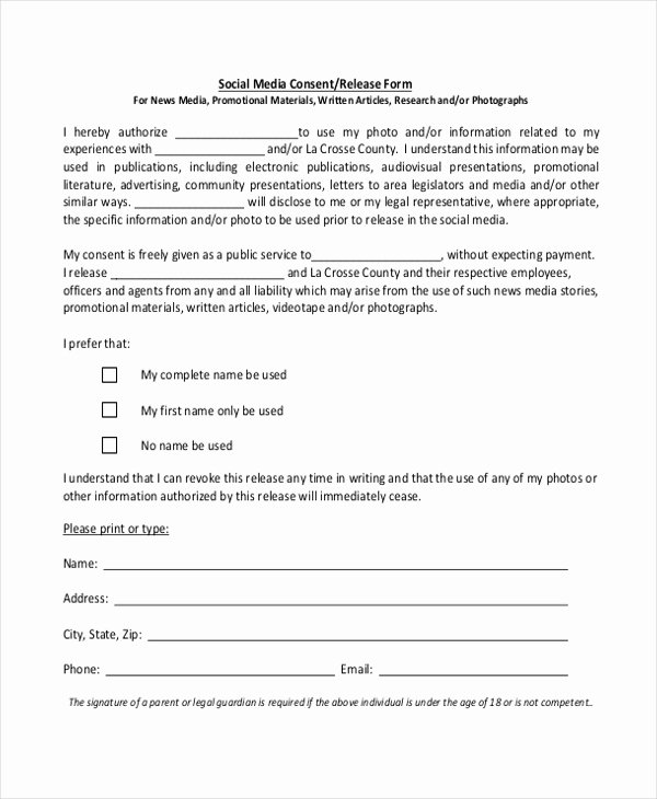 Media Release forms Template Inspirational Sample Media Release form 10 Free Documents In Pdf