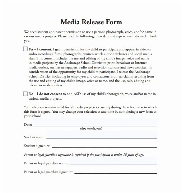 Media Release forms Template Lovely 29 Of social Media Release form Template