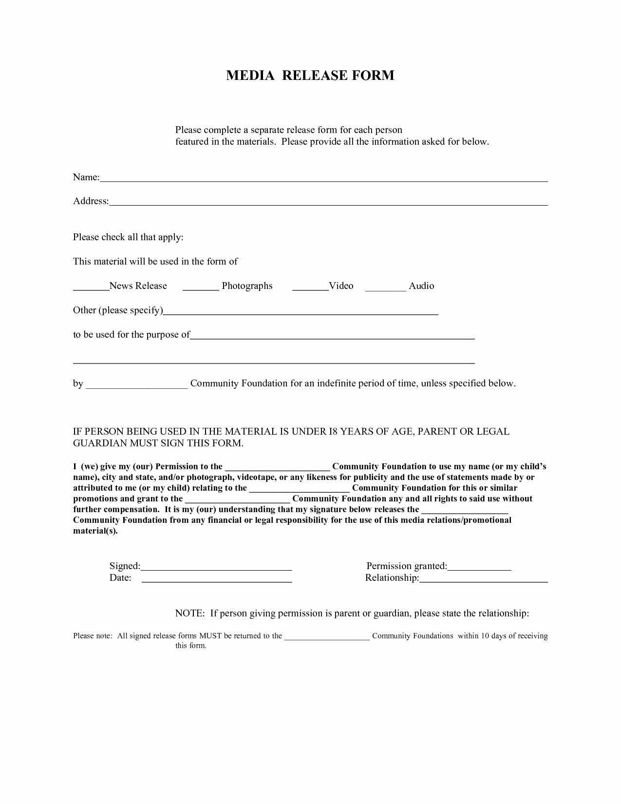 Media Release forms Template Luxury Press Release form – Emmamcintyrephotography