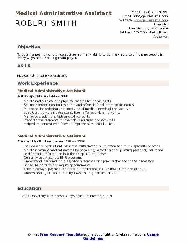 Medical Administrative assistant Resume Awesome Medical Administrative assistant Resume Samples