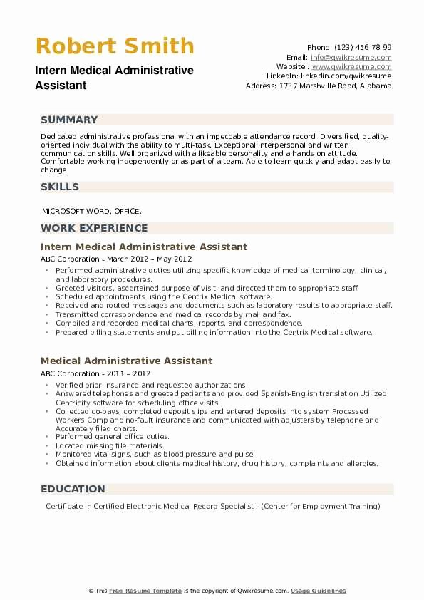 Medical Administrative assistant Resume Elegant Medical Administrative assistant Resume Samples