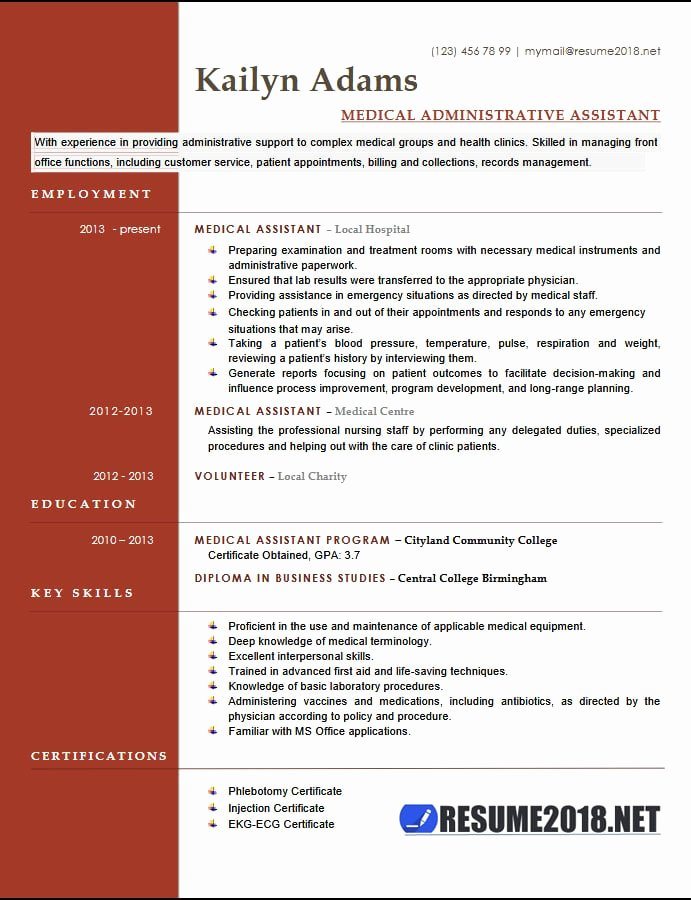 Medical Administrative assistant Resume Elegant Medical assistant Resume Examples 2018 Six Templates In Docx format