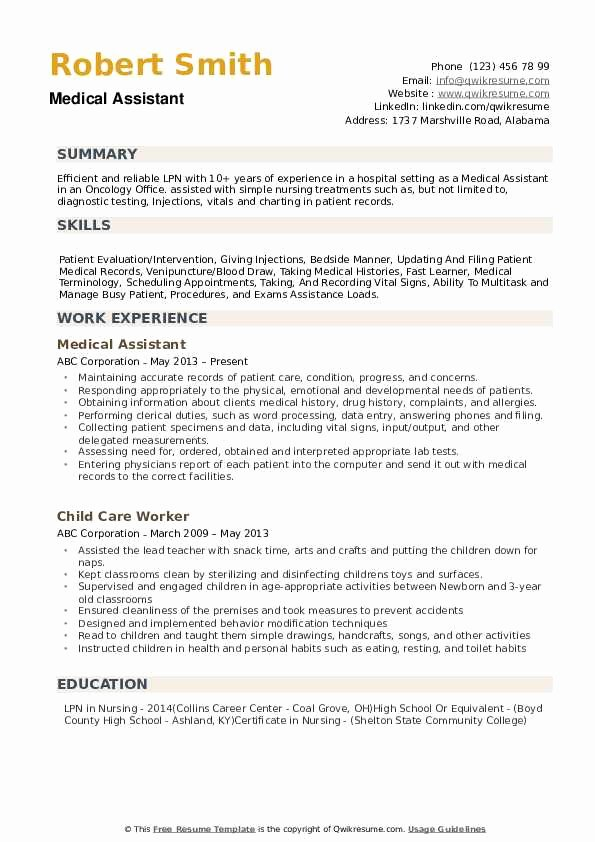 Medical Administrative assistant Resume Fresh Medical assistant Resume Samples
