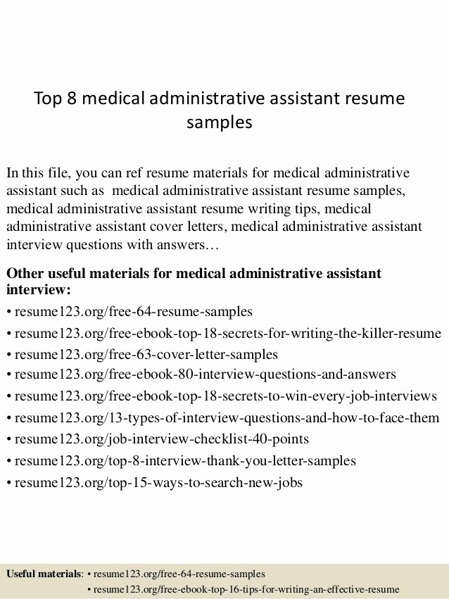 Medical Administrative assistant Resume Fresh top 8 Medical Administrative assistant Resume Samples