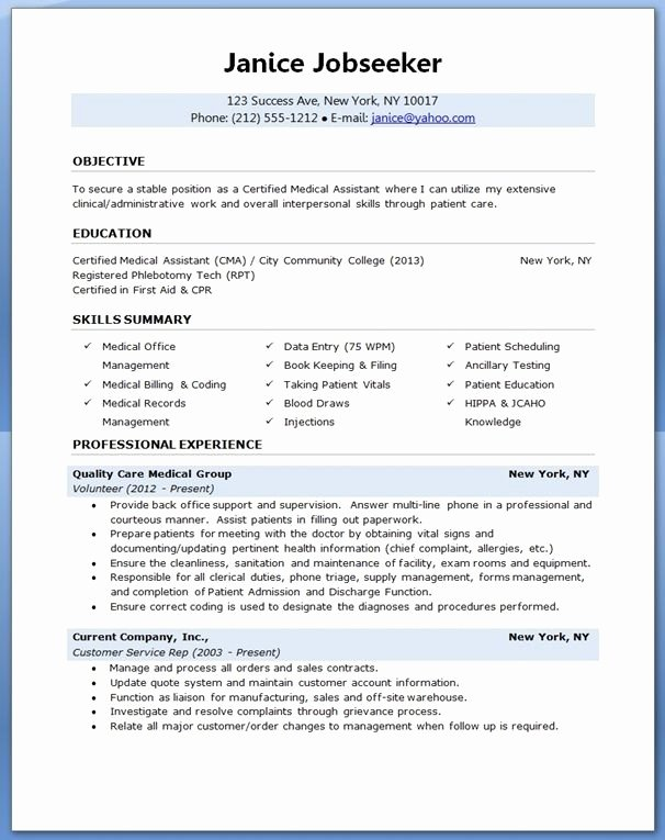 Medical Administrative assistant Resume Lovely Medical assistant Resume Sample Creative Resume Design Templates Word Pinterest