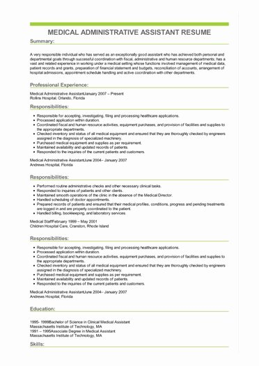 Medical Administrative assistant Resume Lovely Sample Medical Administrative assistant Resume