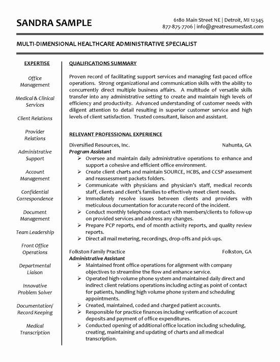 Medical Administrative assistant Resume Luxury Healthcare Specialist Resume Tips