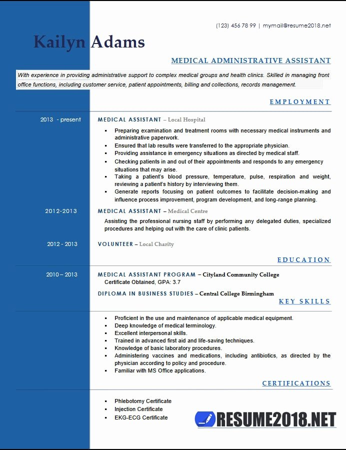 Medical Administrative assistant Resume Unique Medical assistant Resume Examples 2018 Six Templates In Docx format