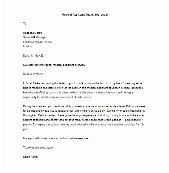 Medical assistant Thank You Letter Luxury 9 Medical Thank You Letter Templates Doc Pdf