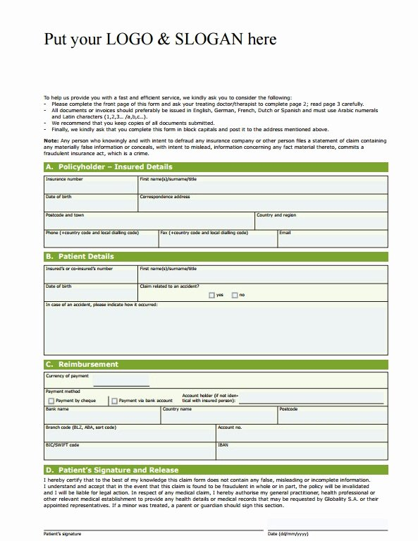 Medical Bill Template Pdf Inspirational Free Health Insurance Claim Template