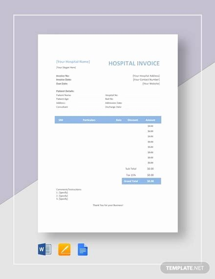 Medical Bill Template Pdf Unique Free 16 Sample Medical Invoice Templates In Google Docs