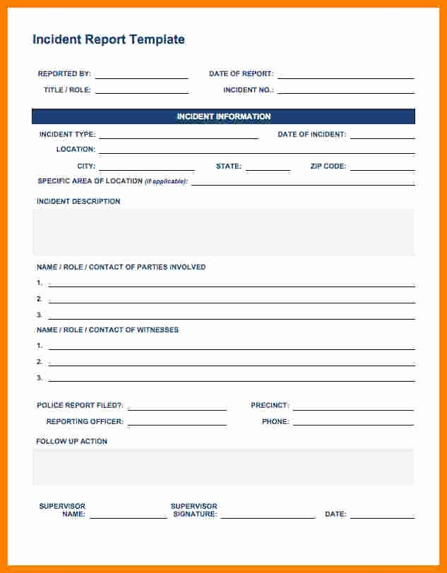 Medical Incident Report form Best Of 5 Generic Incident Report Template