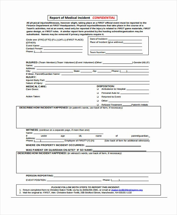 Medical Incident Report form Elegant Free 40 Sample Incident Report forms In Pdf