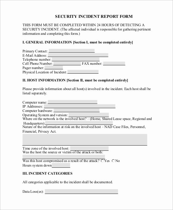 Medical Incident Report form Fresh Sample Incident Report form 9 Examples In Word Pdf