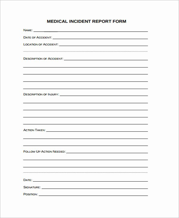 Medical Incident Report form New Free 40 Sample Incident Report forms In Pdf