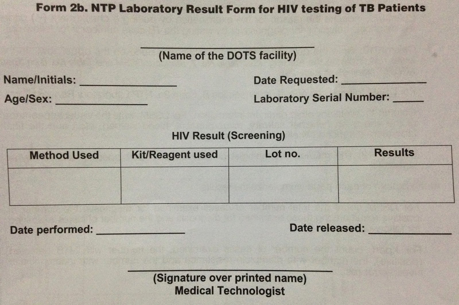 Medical Lab Results Template Luxury Public Health Resources form 2b Ntp Lab Result form for Hiv Testing