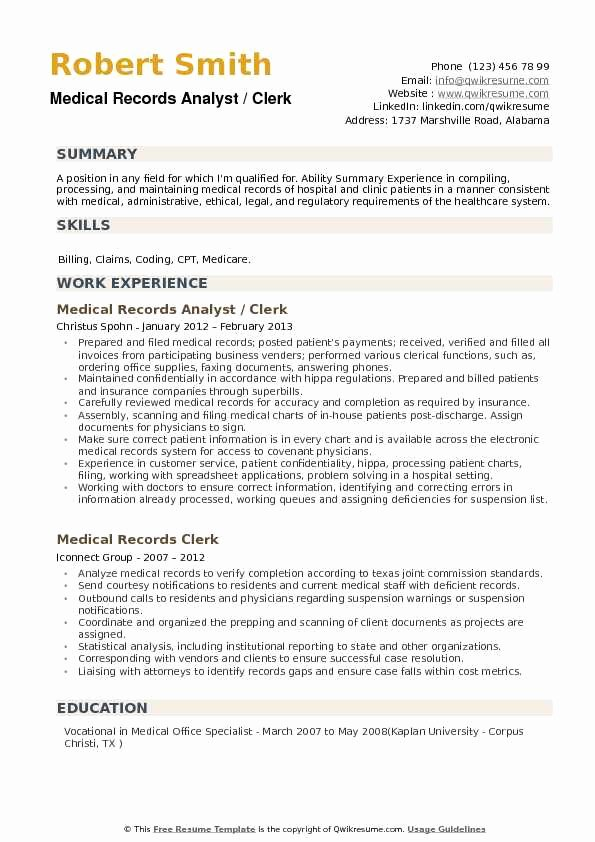 Medical Records Summary Template Beautiful Medical Records Analyst Resume Samples
