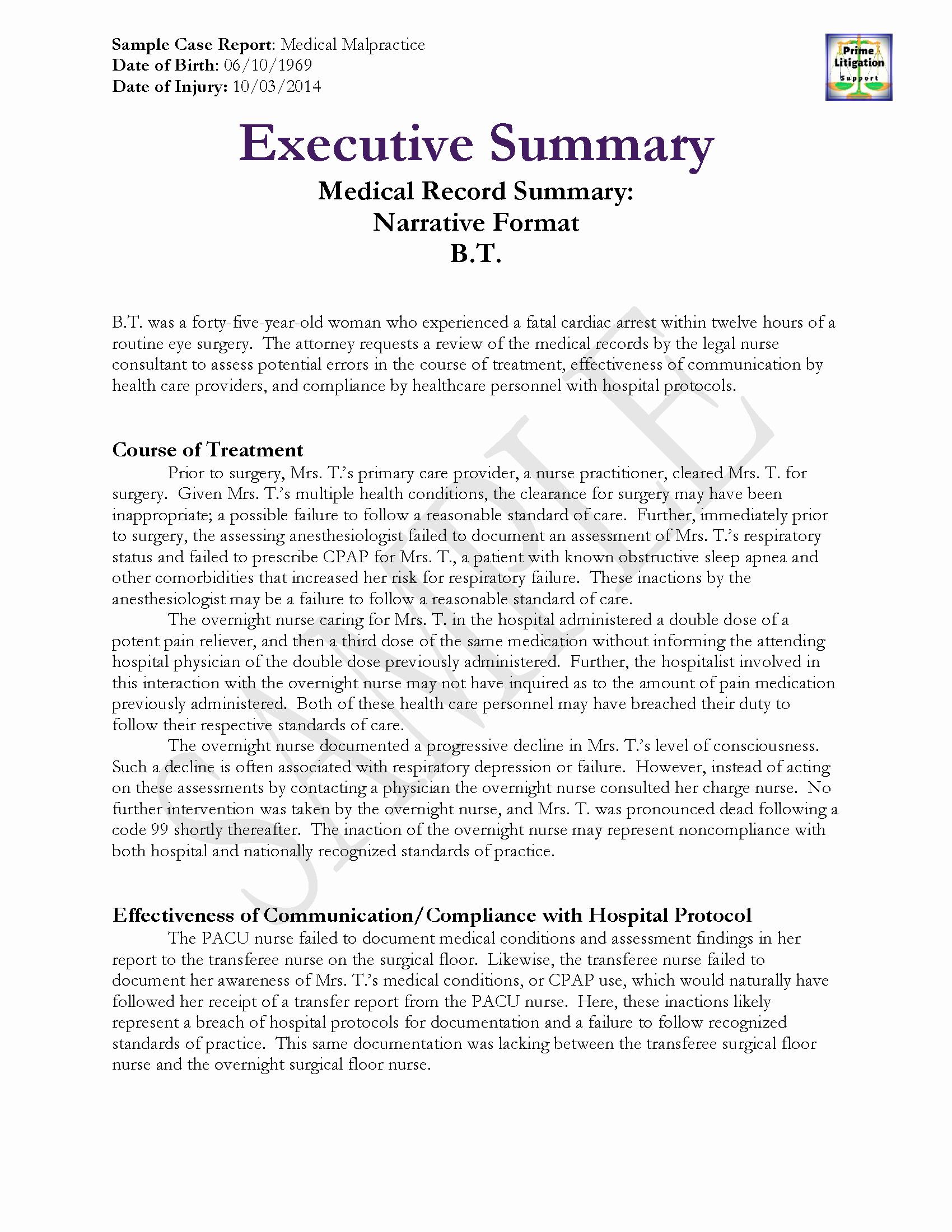 Medical Records Summary Template Elegant Legal Nurse Consultant Samples Prime Litigation Support