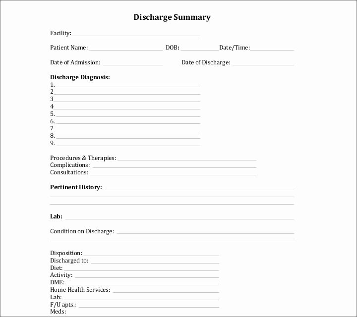Medical Records Summary Template Inspirational 9 Discharge Summary Templates Pdf Doc