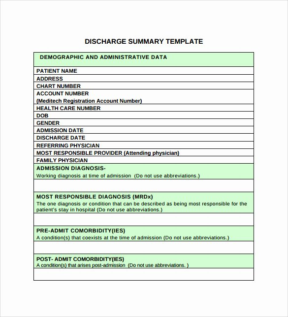 Medical Records Summary Template Lovely Sample Discharge Summary 10 Documents In Pdf Word