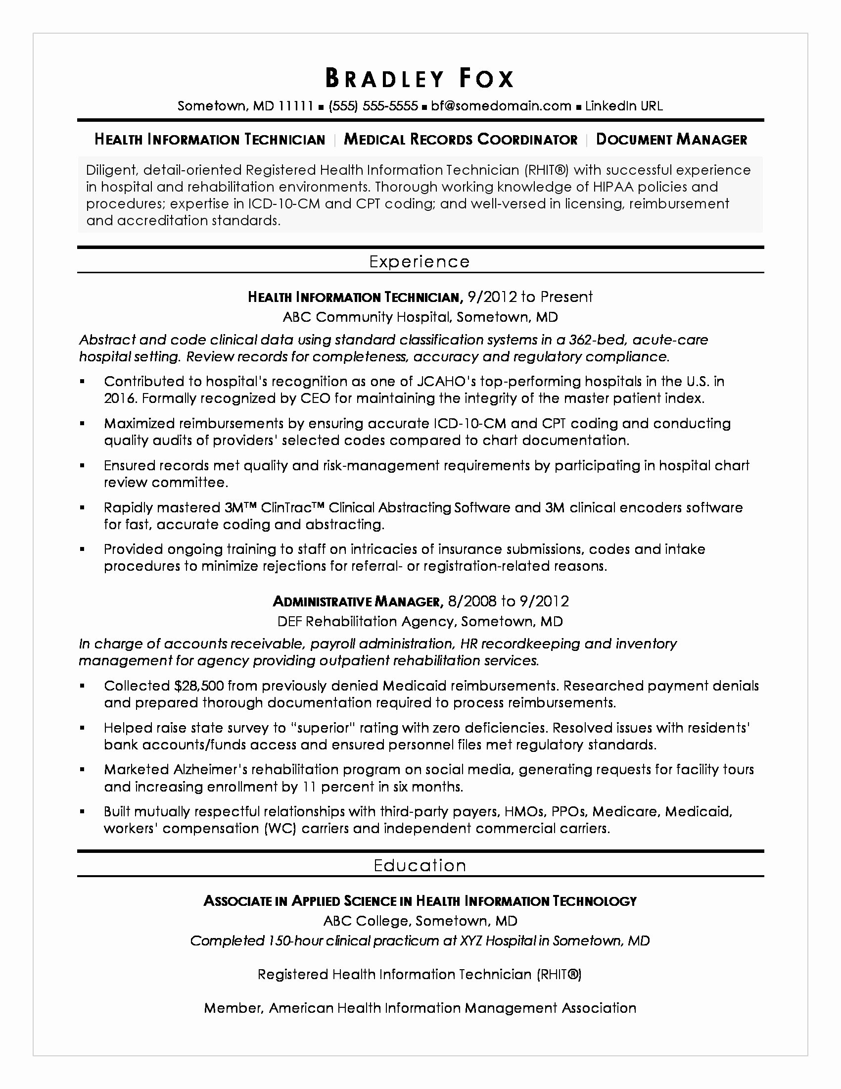 Medical Records Summary Template Unique Health Information Technician Sample Resume