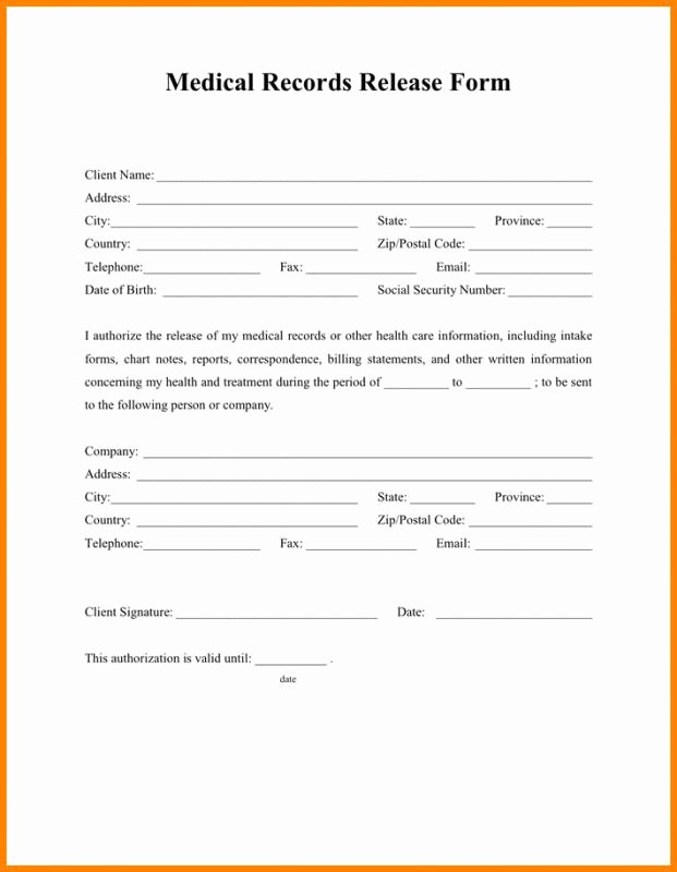 Medical Records Summary Template Unique Medical Release form