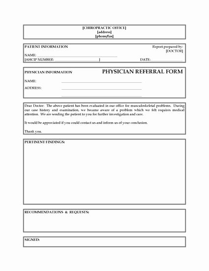 Medical Referral form Templates Inspirational Referral form From Chiropractor to Physician