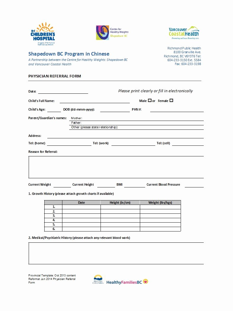 Medical Referral form Templates Unique 50 Referral form Templates [medical & General] Template Lab