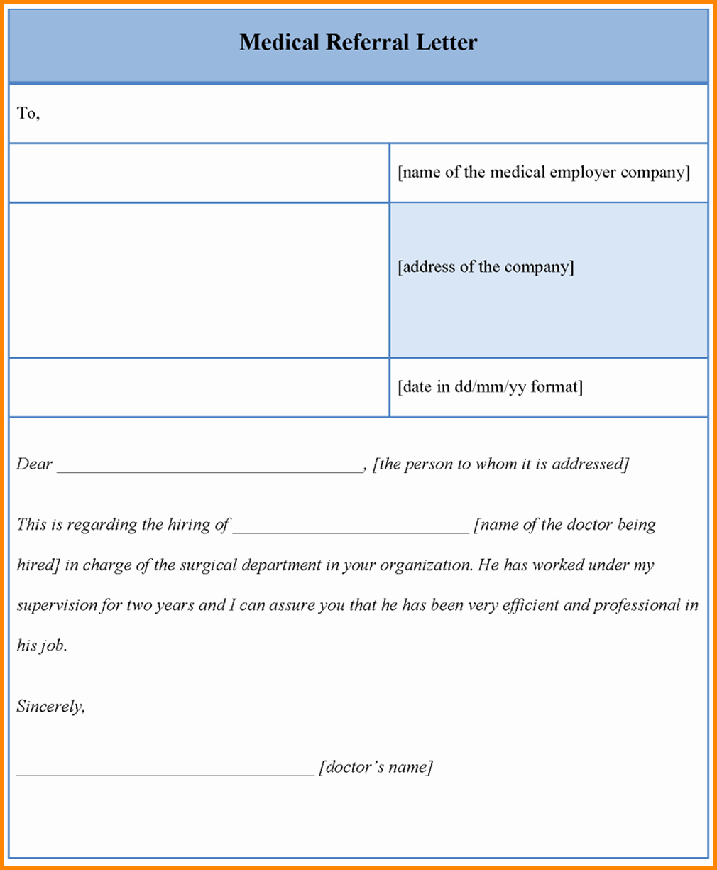 Medical Referral Letter Template Elegant Medical Referral Letter Template Microsoft Word