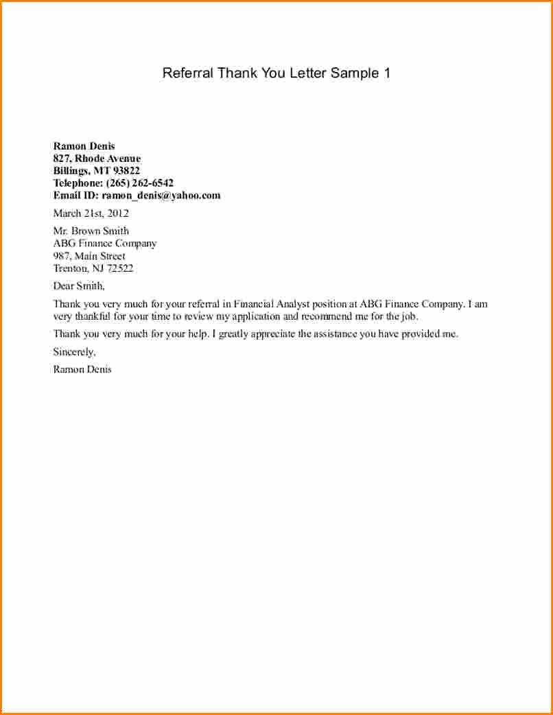 Medical Referral Letter Template Lovely Referral Thank You Letters