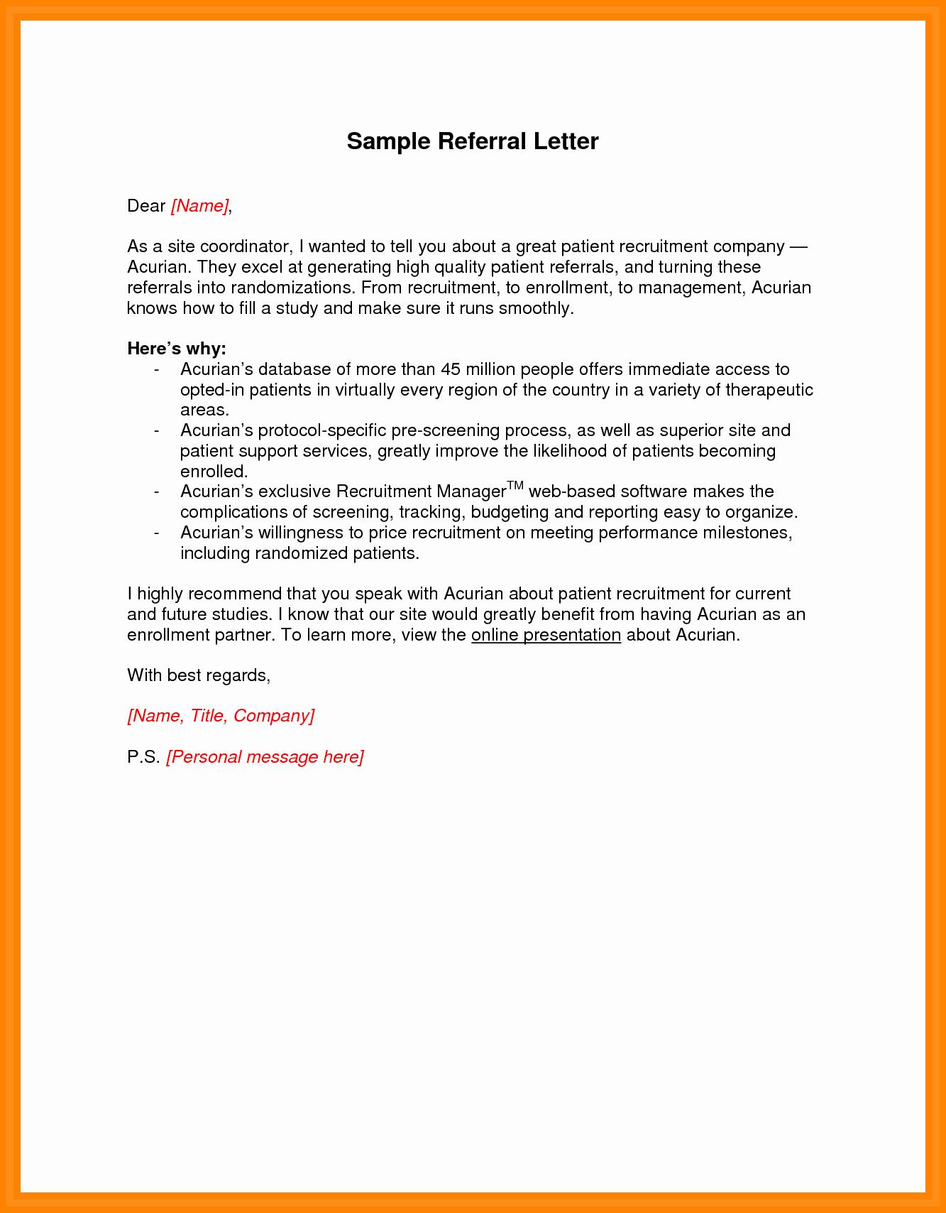 Medical Referral Letter Template New Sample Testimonial Letter