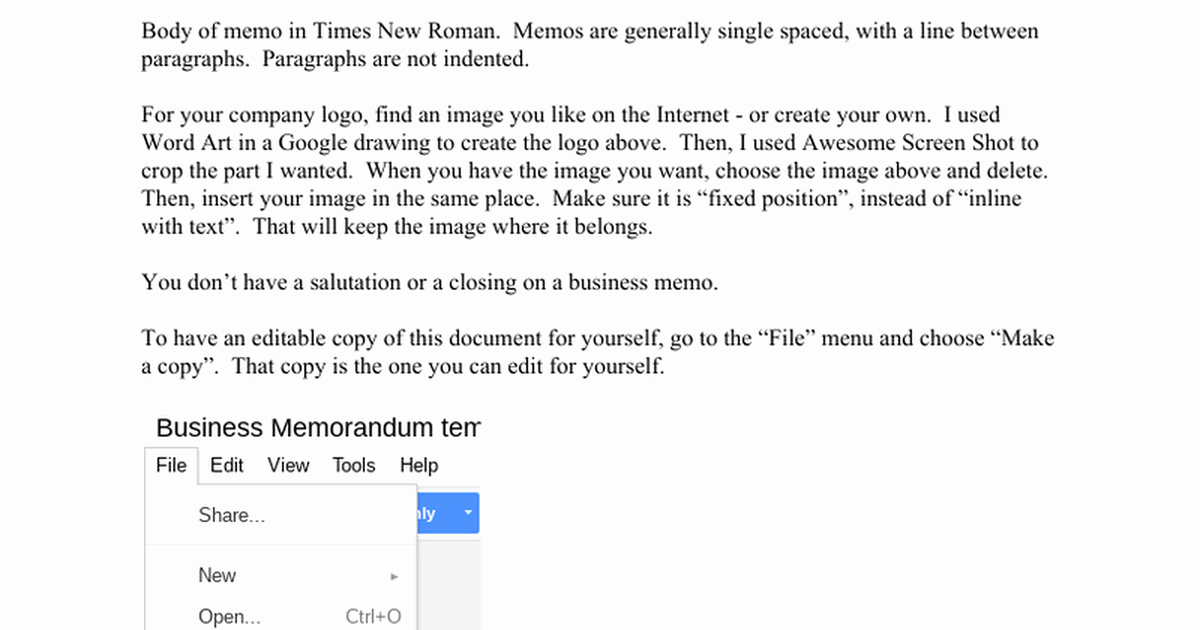 Memo Template Google Docs Fresh Business Memorandum Template Make A Copy for Yourself Google Docs