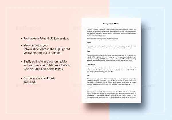 Memo Template Google Docs Fresh Memorandum format 21 Free Word Pdf Documents Download